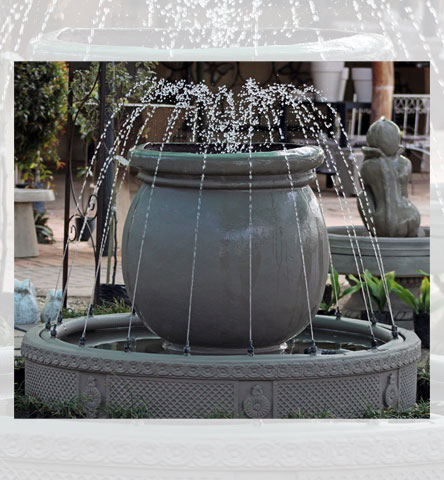 Water Feature Pot Round with sicilia dam and nozzle ring