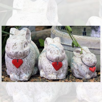 Rabbits with red hearts